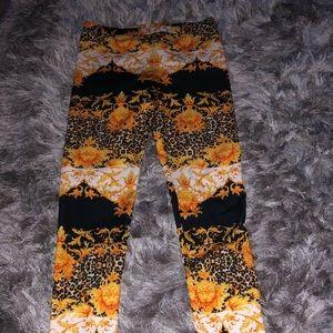 Sun, fire, bright orange and yellow leggings